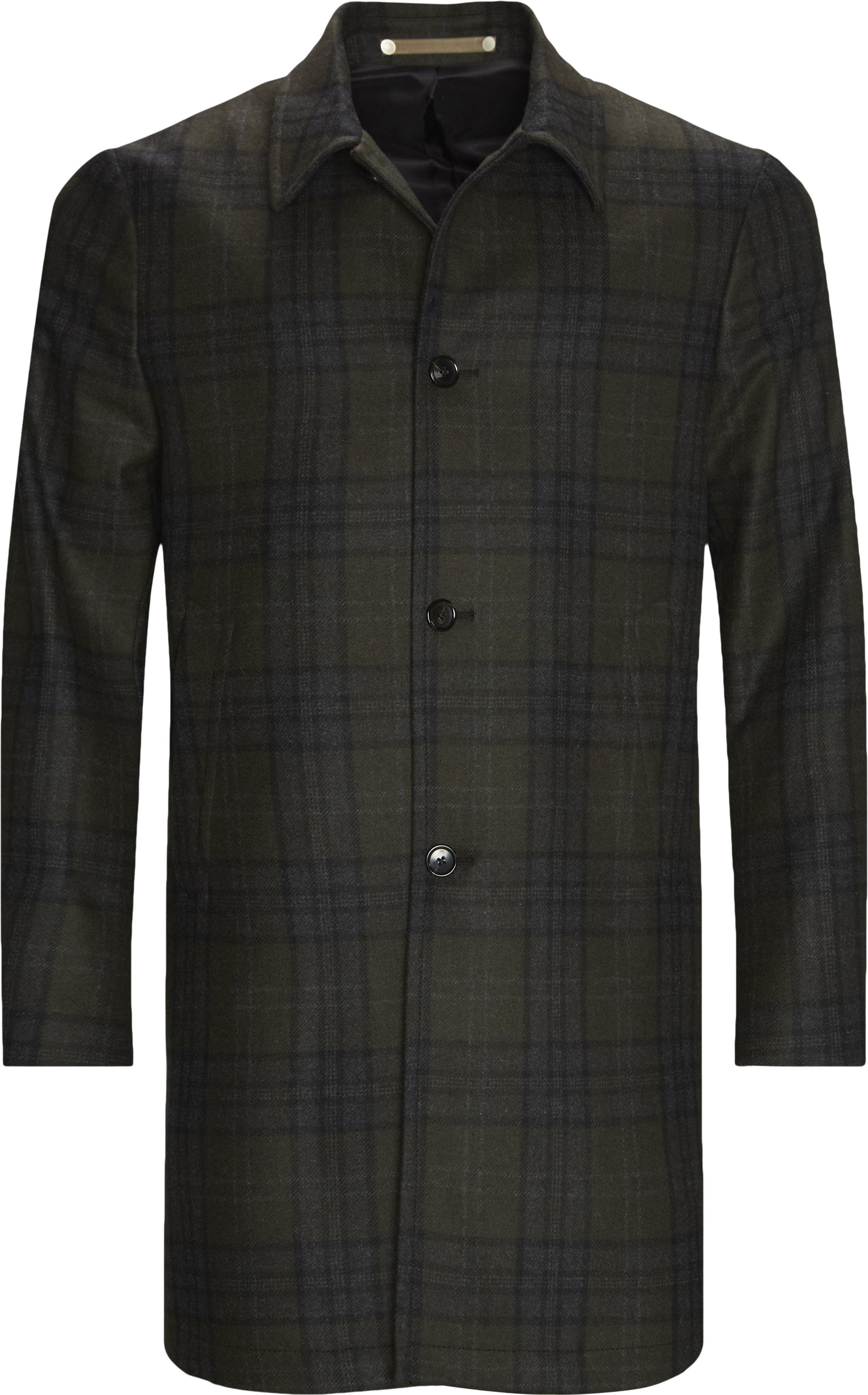 Checked Wool Coat - Jakker - Regular fit - Grøn